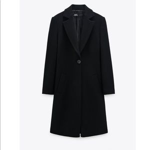 The perfect fitted tailored black wool blend coat